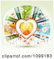 Background Of A Dewy Orange Heart Framed With Vines Butterflies Flowers And Ribbons