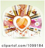 Background Of An Orange Heart Framed With Vines Butterflies Flowers And Ribbons