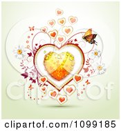 Valentine Or Wedding Background Of Butterflies And Vines Around A Dewy Orange Heart