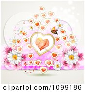 Valentine Or Wedding Background Of Daisies Hearts And A Butterfly