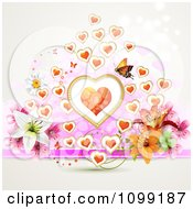 Valentine Or Wedding Background Of Flowers Hearts And A Butterfly