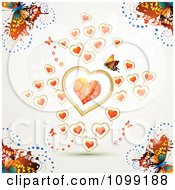 Background Of Colorful Butterflies And Floating Orange Hearts