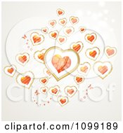 Clipart Background Of Butterflies And Floating Hearts Royalty Free Vector Illustration by merlinul