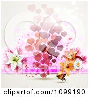 Background Of Floating Hearts With Flowers And An Orange Butterfly