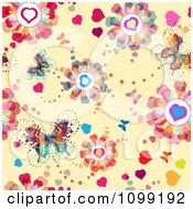Background Of Butterflies And Heart Blossoms On Beige
