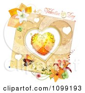Valentines Day Greeting Over A Dewy Orange Heart And Floral Butterfly Card