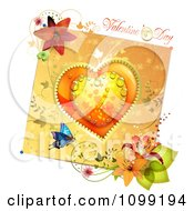 Valentines Day Greeting Over A Dewy Orange Heart And Floral Card