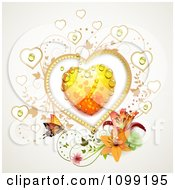 Clipart Dewy Orange Heart With Vines Lilies And A Butterfly Royalty Free Vector Illustration