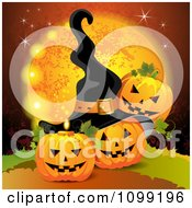 Clipart Three Halloween Jackolanterns Against A Full Moon With Bats And A Witch Hat Royalty Free Vector Illustration by merlinul