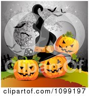 Clipart Three Halloween Jackolanterns With A Full Moon With Bats And A Witch Hat Royalty Free Vector Illustration by merlinul