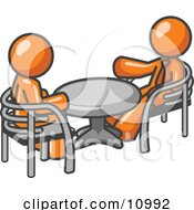 Two Orange Business Men Sitting Across From Eachother At A Table During A Meeting Clipart Illustration