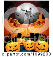 Clipart Happy Halloween Banner With Jackolanterns In A Graveyard Witch And Haunted House On Orange Rays Royalty Free Vector Illustration by merlinul