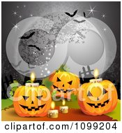 Clipart Halloween Jackolanterns With Candles Under A Full Moon With Bats Royalty Free Vector Illustration by merlinul