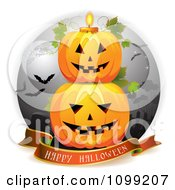 Clipart Happy Halloween Greeting Banner Under Stacked Jackolanterns In A Graveyard With A Candle Royalty Free Vector Illustration