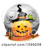 Clipart Happy Halloween Greeting Banner Under A Jackolantern In A Graveyard With A Witch Hat Royalty Free Vector Illustration by merlinul