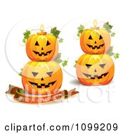 Clipart Happy Halloween Greeting Banner With Stacked Pumpkins And Candles Royalty Free Vector Illustration