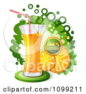 Clipart Tall Glass Of Orange Soda Pop With Slices And A Natural Icon Over Green Dots Royalty Free Vector Illustration by merlinul