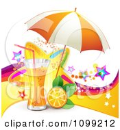 Clipart Background Of Orange Juice Or Soda With An Umbrella Slice And Colorful Stars Royalty Free Vector Illustration by merlinul
