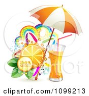 Clipart Background Of Natural Orange Juice Or Soda With An Umbrella Slice And Colorful Rainbows And Stars Royalty Free Vector Illustration by merlinul