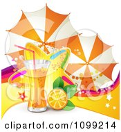 Clipart Background Of Orange Juice Or Soda With Umbrellas Slice And Colorful Star Royalty Free Vector Illustration by merlinul