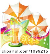 Clipart Background Of Orange Juice Or Soda With Umbrellas Slices And A Colorful Star Royalty Free Vector Illustration by merlinul