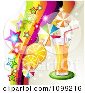 Clipart Background Of An Orange Drink With Slices Umbrellas Stars And A Rainbow Royalty Free Vector Illustration by merlinul