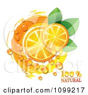 Clipart Natural Orange Slices With Juice Drops Dew Leaves And A Circle Royalty Free Vector Illustration by merlinul