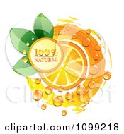 Clipart Natural Orange Slice With Dew Leaves And A Circle Royalty Free Vector Illustration by merlinul