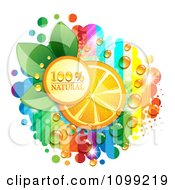 Clipart Natural Icon With An Orange Slice Dew And Rainbow Stripes Royalty Free Vector Illustration by merlinul