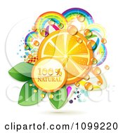 Clipart Natural Icon With An Orange Slice Dew And Rainbows Royalty Free Vector Illustration by merlinul