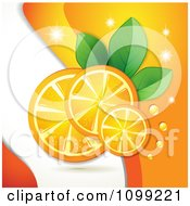 Clipart Background Of Orange Slices With Sparkles Dew Leaves And Waves Royalty Free Vector Illustration by merlinul
