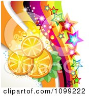 Clipart Background Of Orange Slices With Sparkling Stars And Rainbow Waves Royalty Free Vector Illustration by merlinul