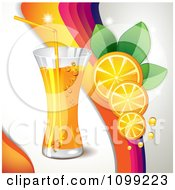 Clipart Background Of Orange Slices A Rainbow And Beverage Royalty Free Vector Illustration by merlinul