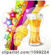 Clipart Background Of An Orange Drink With Slices Stars And A Rainbow Royalty Free Vector Illustration by merlinul