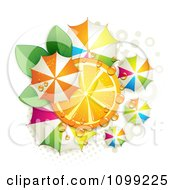 Clipart Orange Slice With Leaves Dew And Colorful Umbrellas Over Halftone Royalty Free Vector Illustration by merlinul