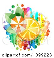 Clipart Orange Slice With An Umbrella Leaves Dew And Rainbow Stripes Royalty Free Vector Illustration by merlinul