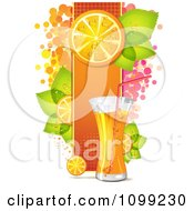Clipart Tall Glass Of Orange Drink With A Halftone Panel Of Slices Leaves And Dots Royalty Free Vector Illustration by merlinul