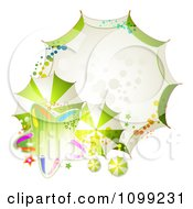 Clipart Background Or Frame Of Green With Umbrellas And A Star Royalty Free Vector Illustration by merlinul