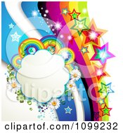 Clipart Background Of A Rainbow Swoosh With Colorful Stars And A Floral Cloud Frame Royalty Free Vector Illustration by merlinul #COLLC1099232-0175
