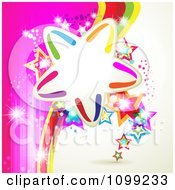 Clipart Background Of A Rainbow Wave With Colorful Stars And Frame Royalty Free Vector Illustration