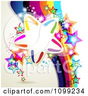 Clipart Background Of A Rainbow Stripes With Colorful Stars And Frame Royalty Free Vector Illustration