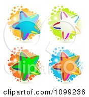 Clipart Four Rainbow Stars Over Halftone And Splatters Royalty Free Vector Illustration