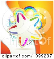 Clipart Background Of A Colorful Star Frame Over Rainbow Circles And Dots On Orange And White Royalty Free Vector Illustration