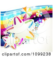 Clipart Rainbow Swoosh With Colorful Stars Umbrellas And Magic Sparkles Royalty Free Vector Illustration by merlinul