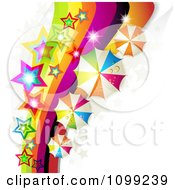 Clipart Rainbow Swoosh With Colorful Stars And Umbrellas Royalty Free Vector Illustration by merlinul