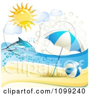 Clipart 3d Beach Umbrella And Ball With Leaping Dolphins Under The Summer Sun Royalty Free Vector Illustration by merlinul