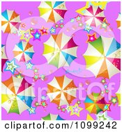 Clipart Seamless Background Pattern Of Colorful Umbrellas And Stars On Purple Royalty Free Vector Illustration by merlinul
