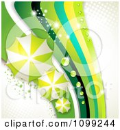 Clipart Background Of Green Umbrellas And Sparkly Waves With Dew On White And Halftone Royalty Free Vector Illustration by merlinul