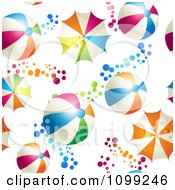 Clipart Seamless Background Pattern Of Colorful Beach Balls Umbrellas And Circles Royalty Free Vector Illustration