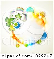 Clipart St Patricks Day Circular Frame With Shamrocks And Colorful Circles Royalty Free Vector Illustration